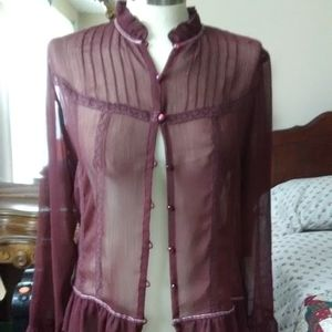 Vintage Style Burgundy Button Down Blouse